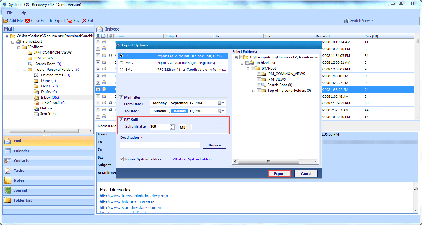 Export files using QuickData OST to PST Converter