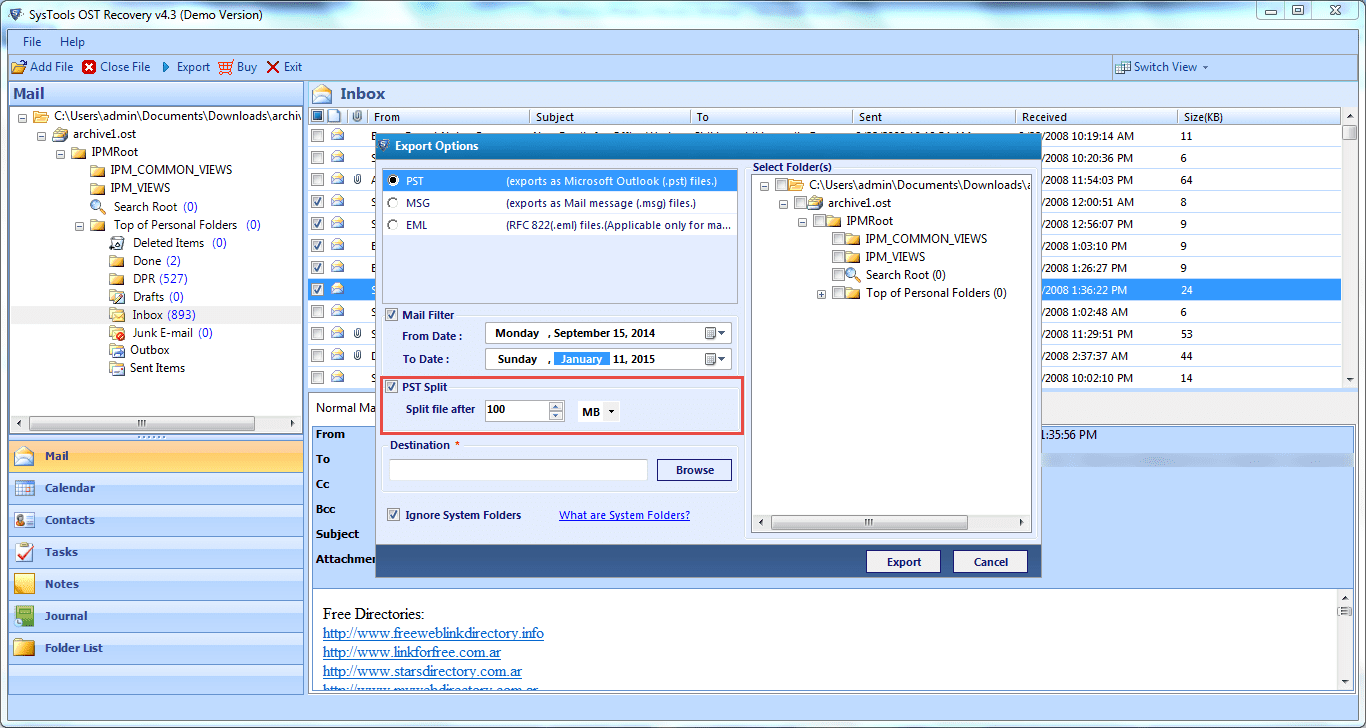 Spilt files by using QuickData OST to PST Converter