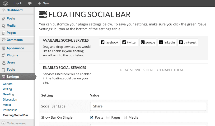 Floating Social Bar Settings Page